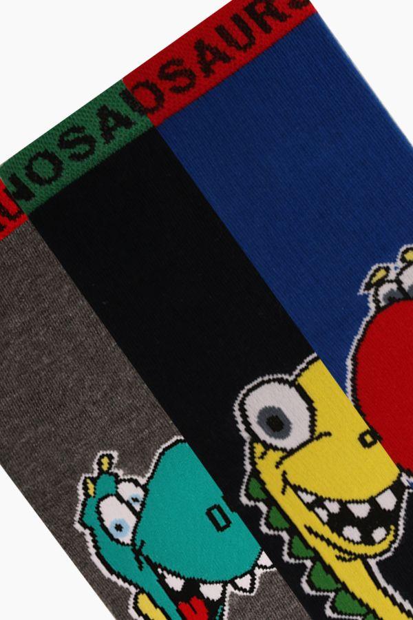 Bross 3'lü Dinazor Desenli Çocuk Çorabı