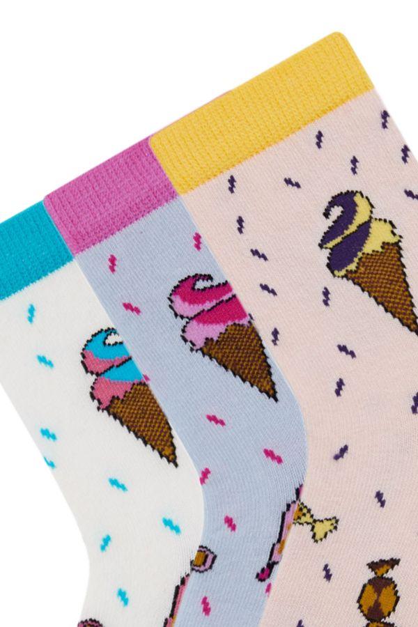Bross 3'lü Dondurma Desenli Çocuk Çorabı