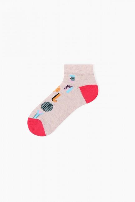 Bross 3'lü Eğlenceli Yaz Desenli Patik Çocuk Çorabı - Thumbnail
