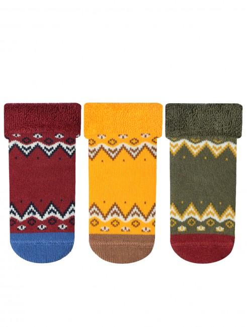 Bross - Bross 3'lü Etnik Desenli Havlu Bebek Çorabı