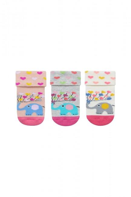 Bross 3'lü Fil Desenli Havlu Bebek Çorabı - Thumbnail