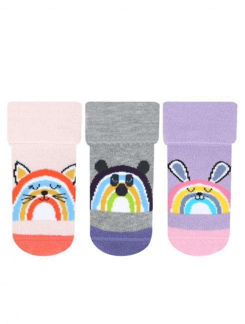 Bross - Bross 3'lü Gökkuşağı Desenli Havlu Bebek Çorabı