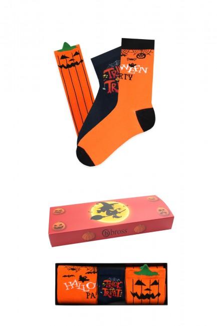 Bross - Bross 3-Pack Halloween Boxed Baby-Family Socks Combination