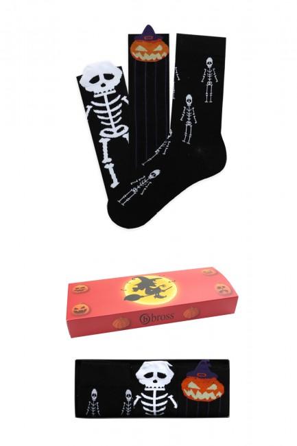 Bross - Bross 3'lü Halloween Kutulu Çocuk-Aile Çorap Kombini