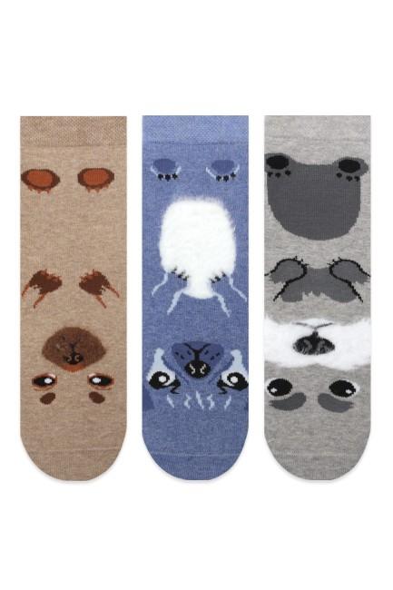 Bross - Bross 3'lü Hayvan Desenli Kaydırmaz Havlu Çocuk Çorabı