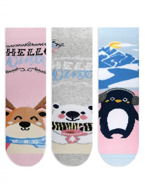 Bross - Bross 3'lü Hello Winter Temalı Havlu Çocuk Çorabı