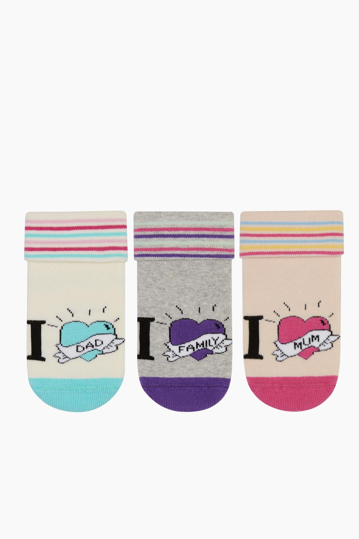 Bross - Bross 3'lü I Family Çemberli Havlu Bebek Çorabı