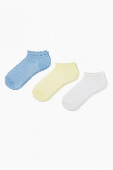 Bross - Bross 3-teilige geprägte gemusterte Booties Baby Socken