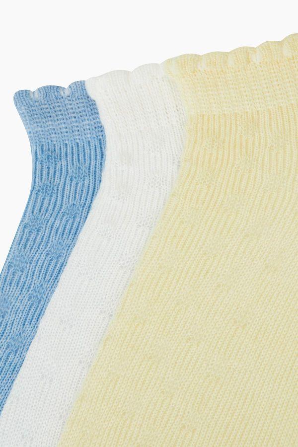 Bross 3'lü Kabartma Desenli Patik Bebek Çorabı