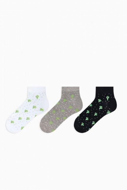 Bross - Bross 3'lü Kaktüs Desenli Patik Erkek Çorabı