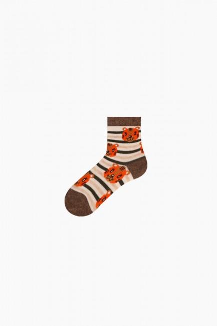 Bross 3'lü Kaplan Desenli Bebek Çorabı - Thumbnail