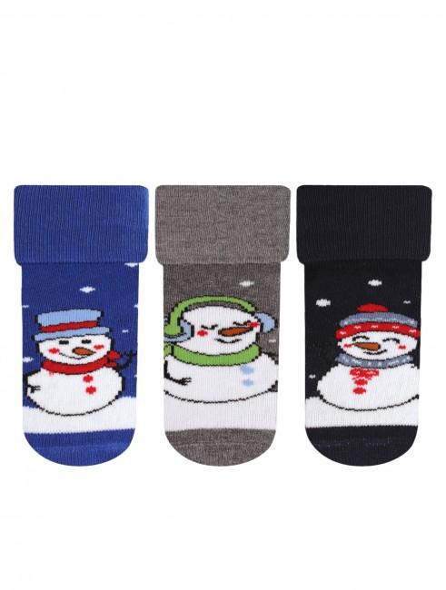 Bross - Bross 3'lü Kardan Adam Desenli Havlu Bebek Çorabı