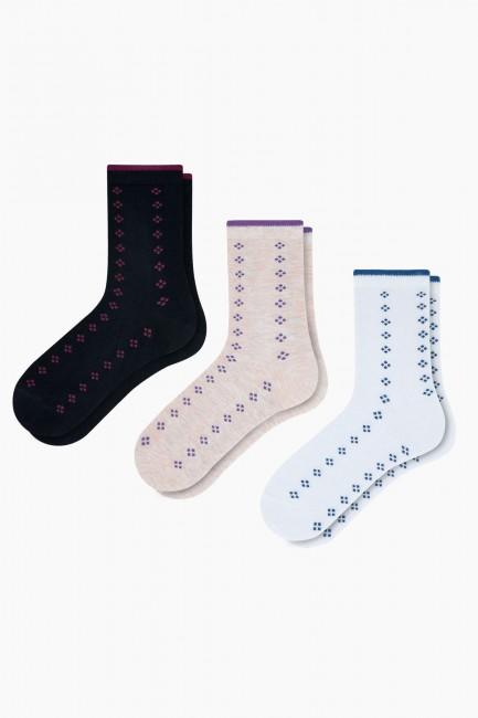 Bross - Bross 3-teilige quadratische Muster Bambus Damen Socken