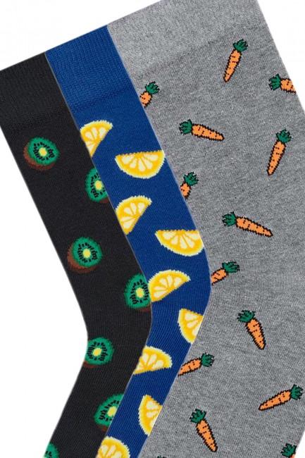 Bross 3'lü Karışık Desenli Erkek Çorabı - Thumbnail