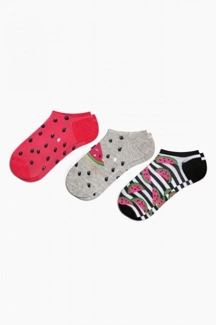 Bross - Bross 3-Piece Watermelon Patterned Sports Women's Socks
