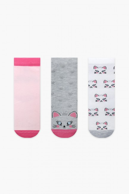Bross - Bross 3'lü Kedi Desenli Simli Kız Çocuk Çorabı