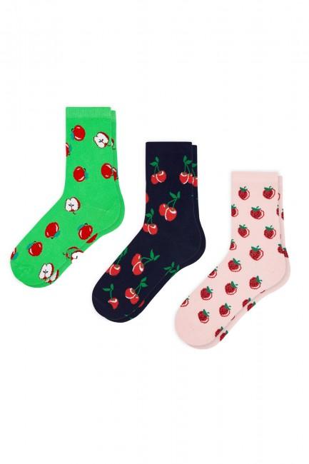 Bross - Bross 3'lü Kırmızı Meyve Desenli Kadın Çorabı