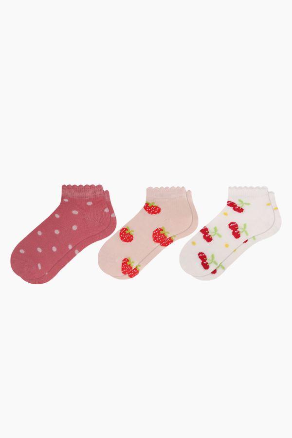 Bross 3'lü Kırmızı Meyve Desenli Patik Bebek Çorabı