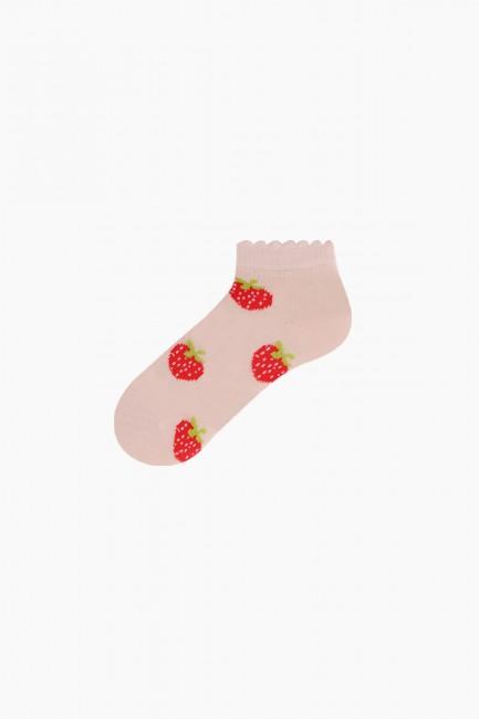 Bross 3'lü Kırmızı Meyve Desenli Patik Bebek Çorabı - Thumbnail