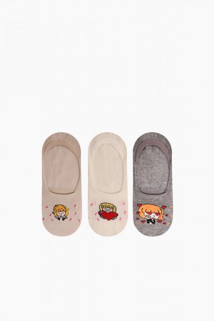 Bross - Bross 3'lü Kız Desenli Babet Çocuk Çorabı