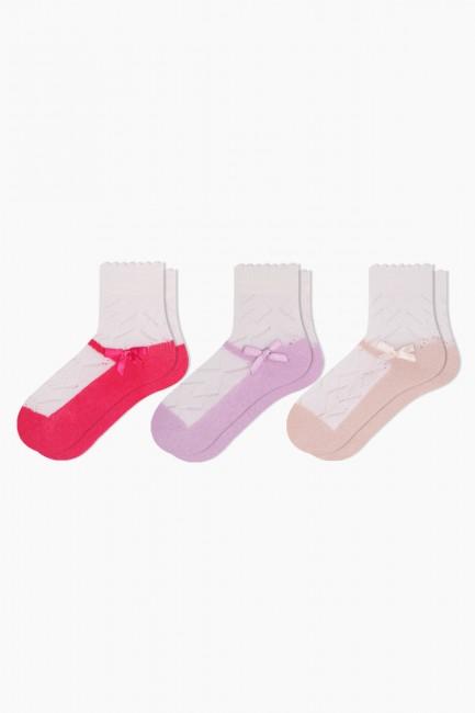 Bross - Bross 3'lü Kurdele Aksesuarlı File Bebek Çorabı