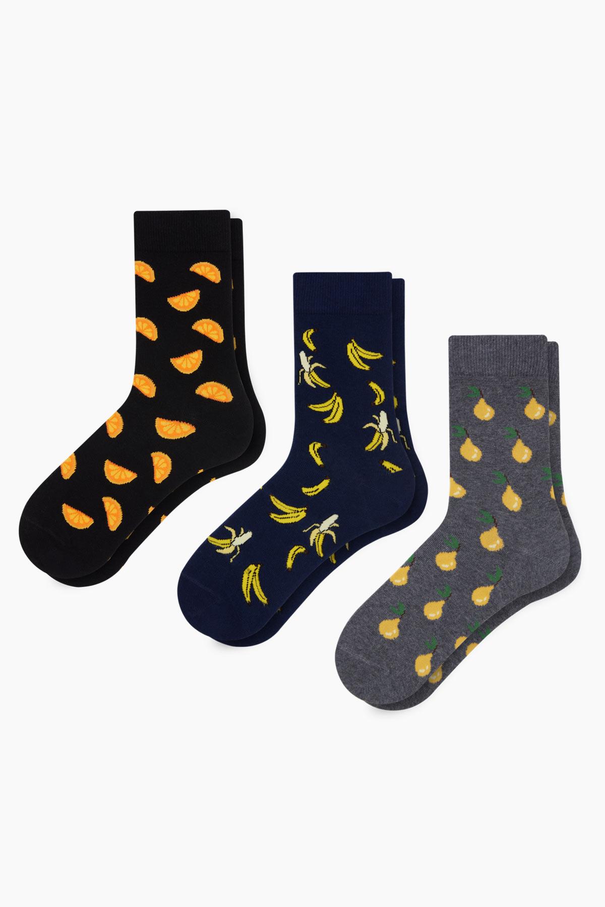 Bross 3'lü Kutu Meyve Desenli Erkek Çorabı - Thumbnail