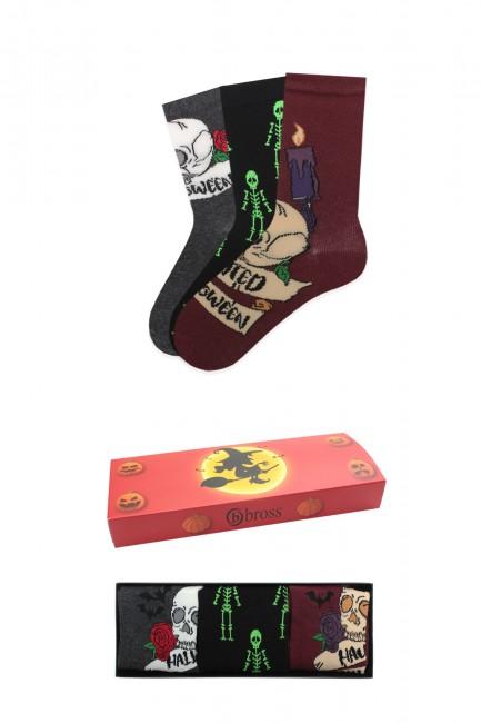 Bross - Bross 3'lü Kutulu Halloween Yetişkin Çorabı