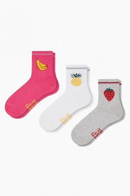 Bross - Bross 3'lü Lastiği Simli Meyveli Kadın Çorabı