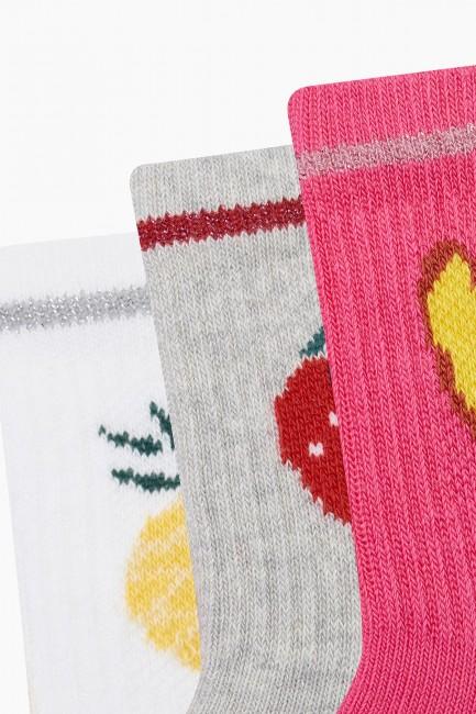 Bross 3'lü Lastiği Simli Meyveli Kadın Çorabı - Thumbnail