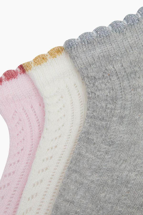 Bross 3'lü Lastiği Fırfırlı Simli File Patik Bebek Çorabı