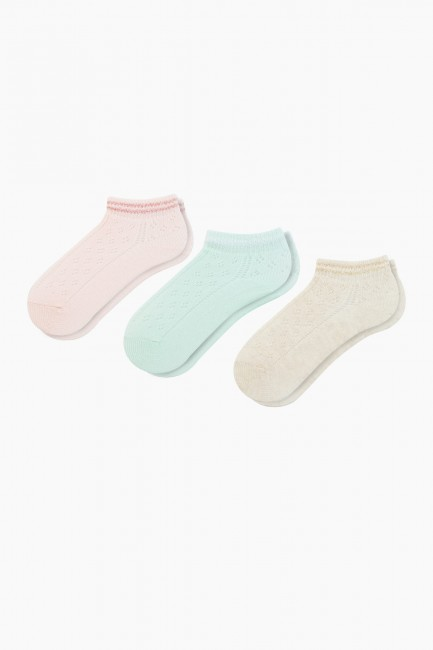 Bross - Bross 3'lü Lastiği Simli File Patik Bebek Çorabı