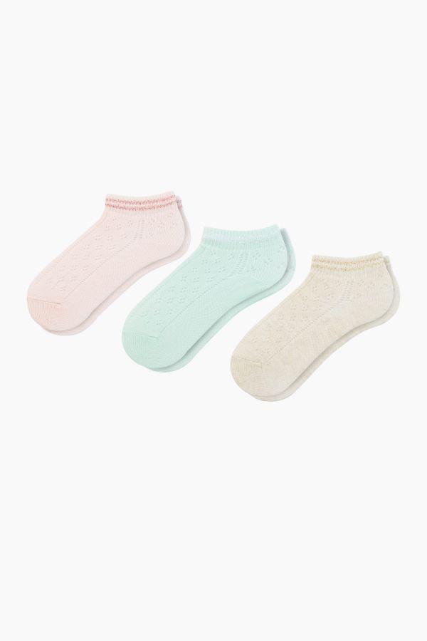 Bross 3lü Lastiği Simli File Patik Bebek Çorabı
