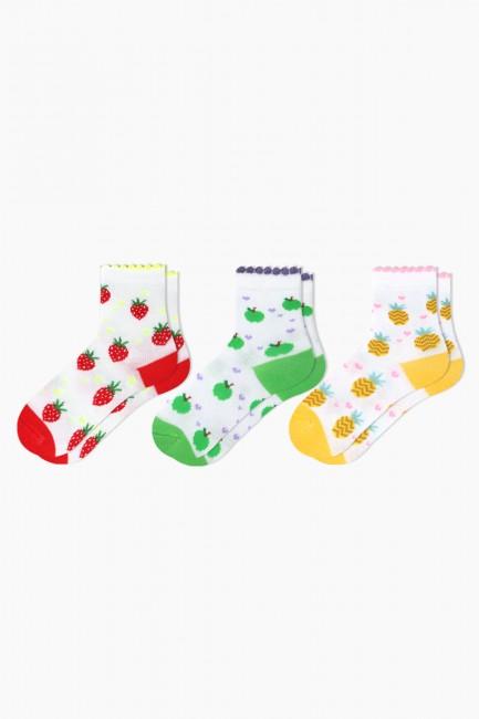 Bross - Bross 3'lü Meyve Desenli Bebek Çorabı