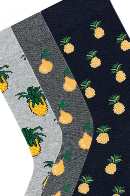 Bross 3'lü Meyve Desenli Erkek Çorabı - Thumbnail