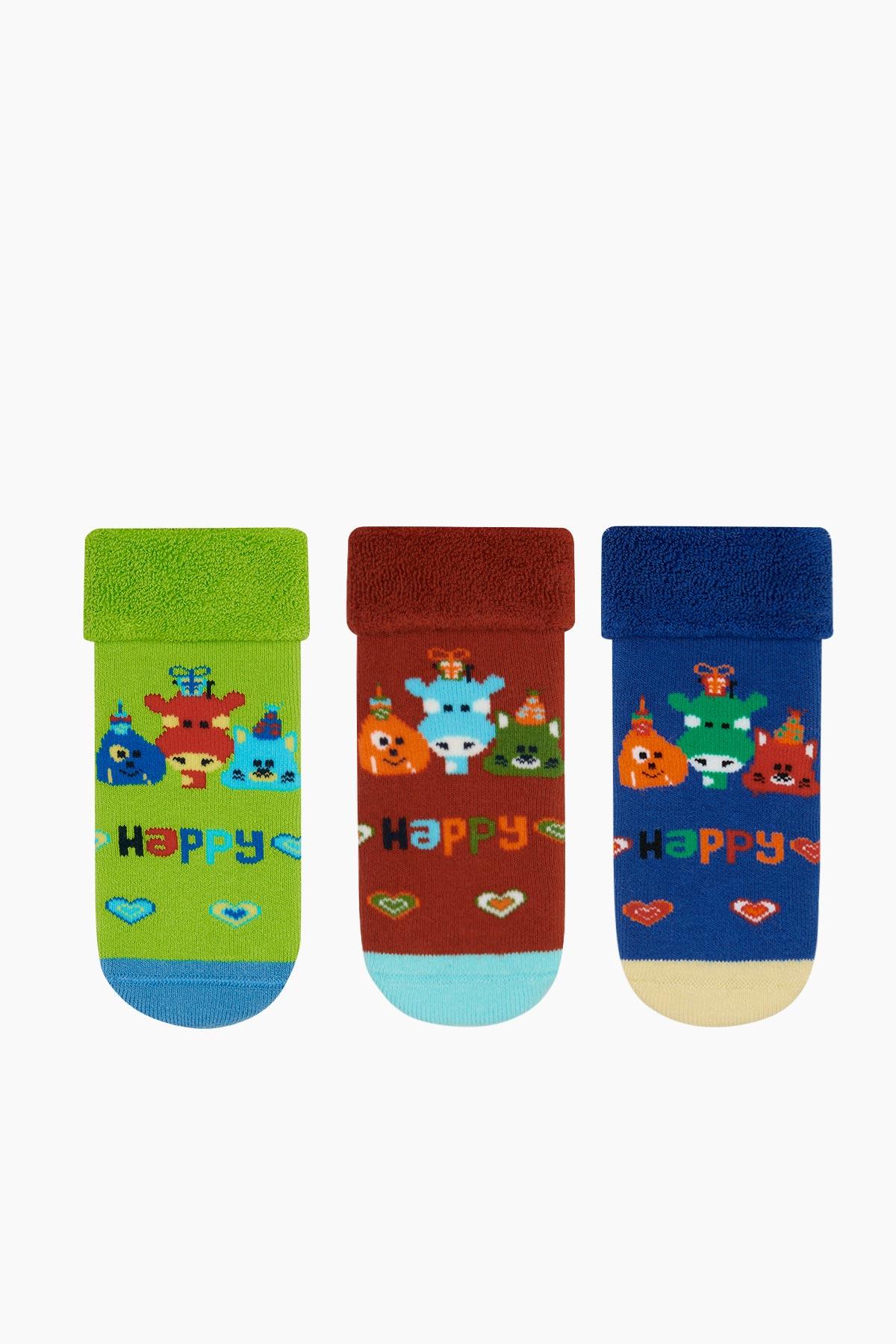 Bross - Bross 3er Pack Happy gemusterte Handtuch Baby Socken