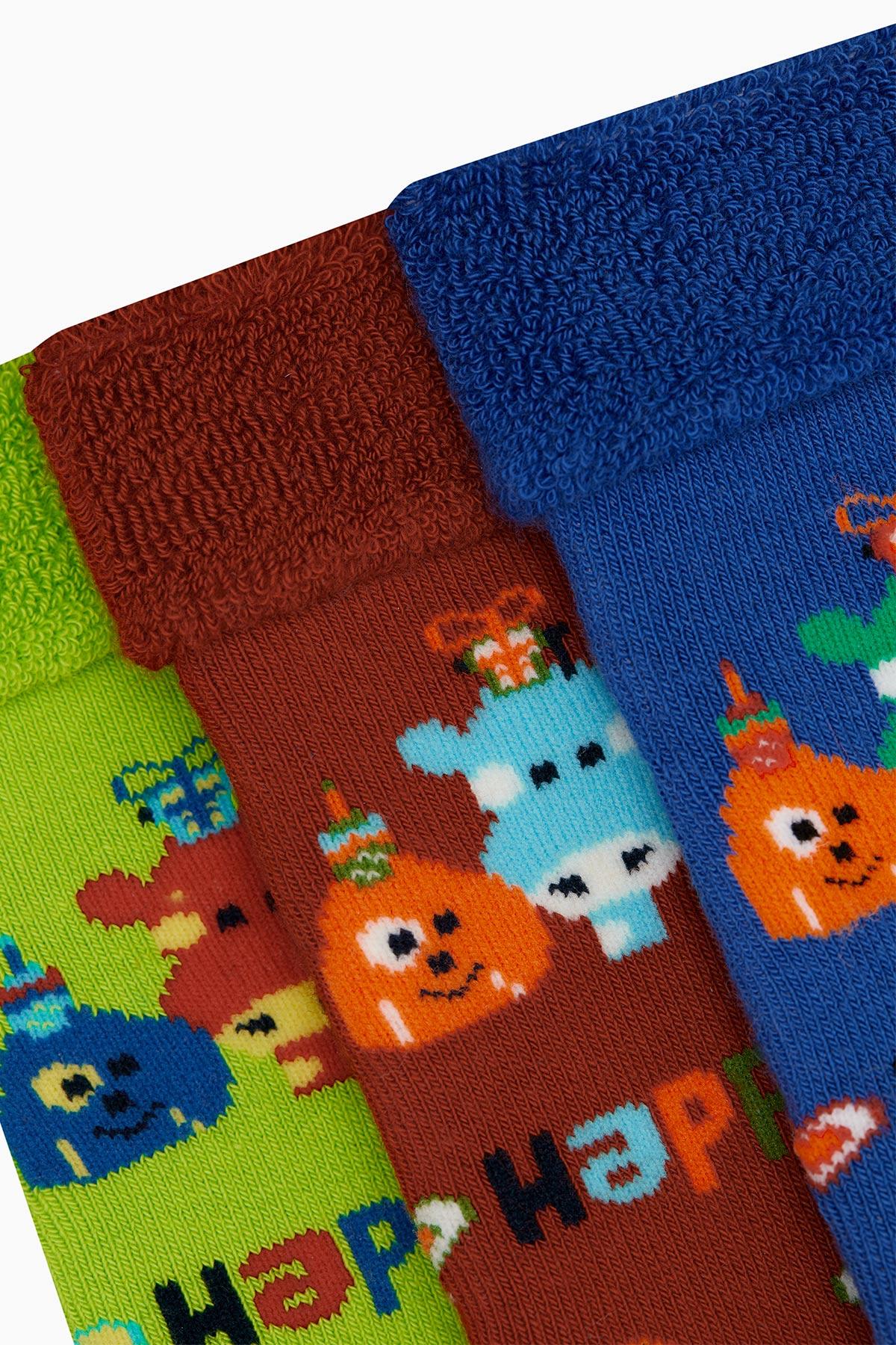 Bross 3'lü Paket Happy Desenli Havlu Bebek Çorabı - Thumbnail