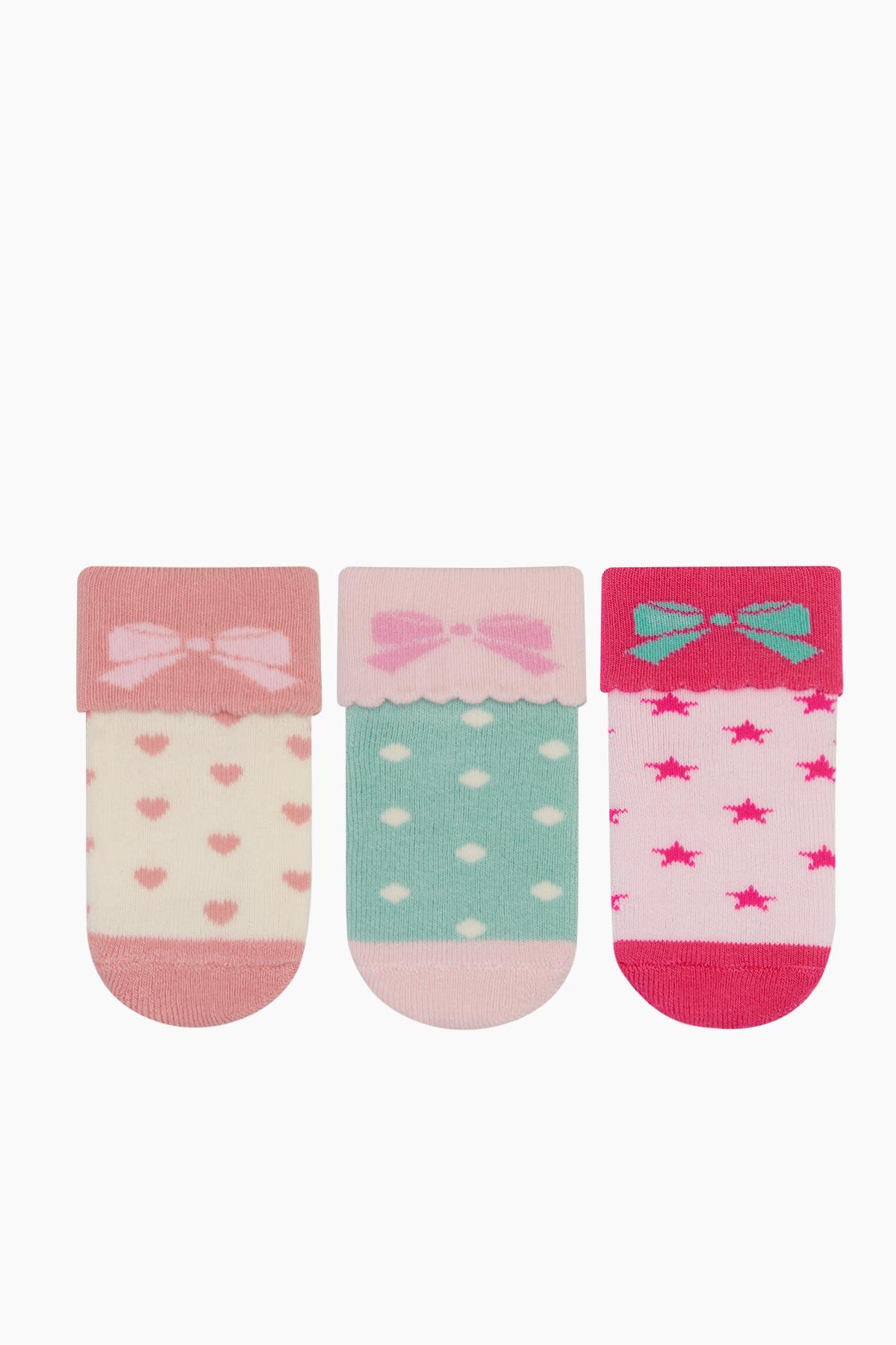 Bross - Bross 3'lü Paket Kurdele Desenlı Havlu Bebek Çorabı