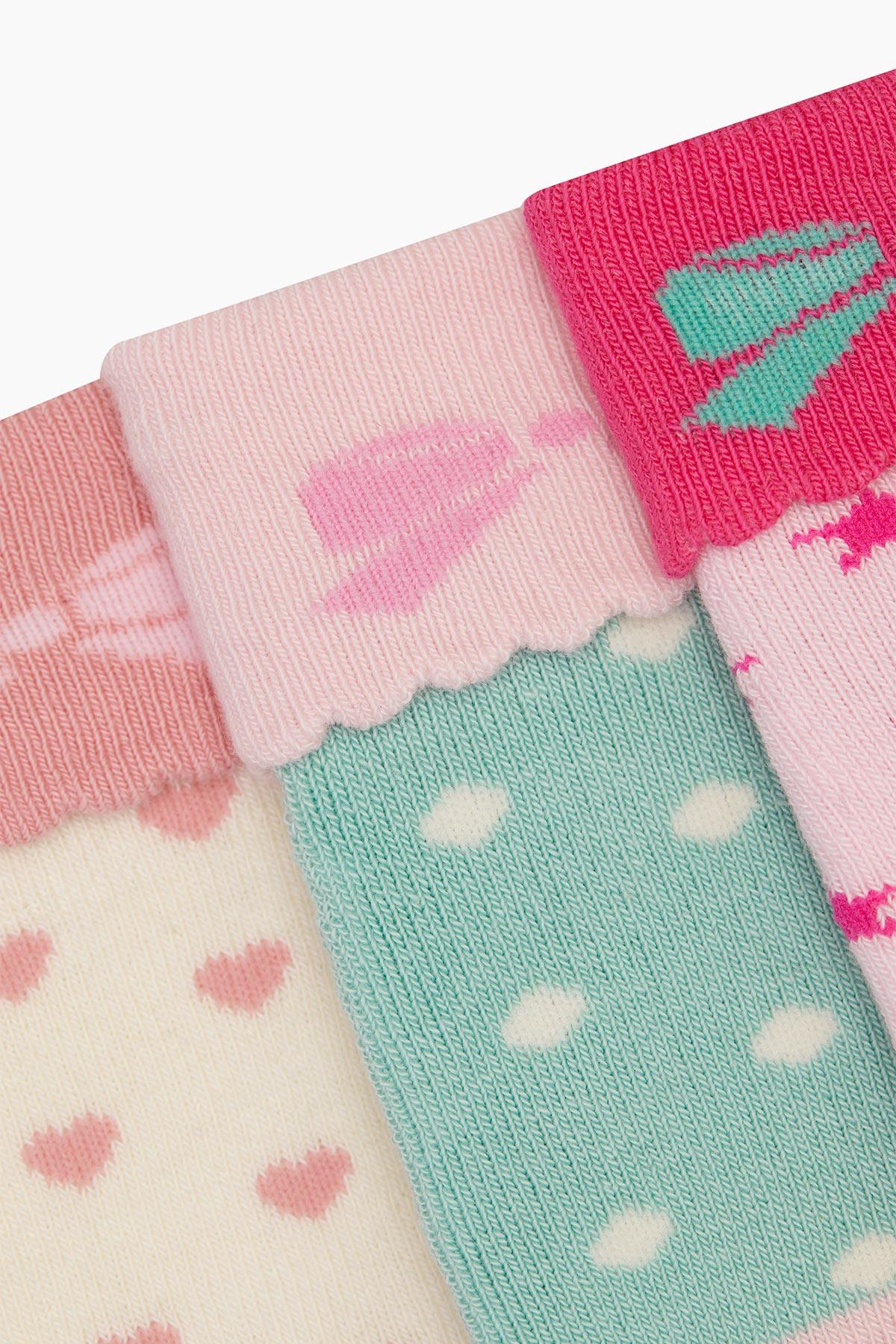Bross 3'lü Paket Kurdele Desenlı Havlu Bebek Çorabı - Thumbnail