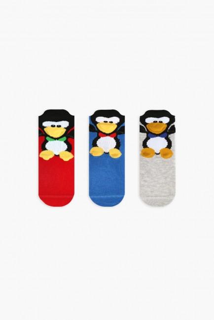 Bross - Bross 3'lü Penguen Desenli Bebek Çorabı