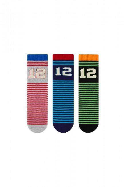 Bross - Bross 3'lü Rakamlı Havlu Çocuk Çorabı