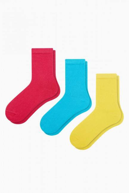 Bross - Bross 3'lü Renkli Kadın Çorabı