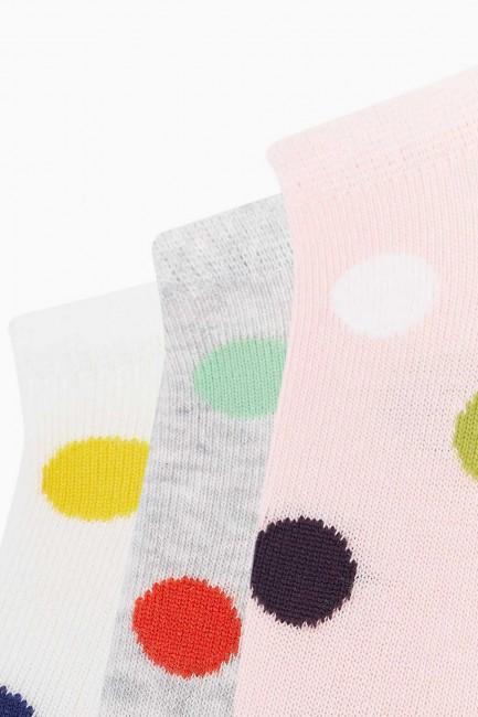 Bross 3'lü Renkli Puan Desenli Spor Kadın Çorabı - Thumbnail