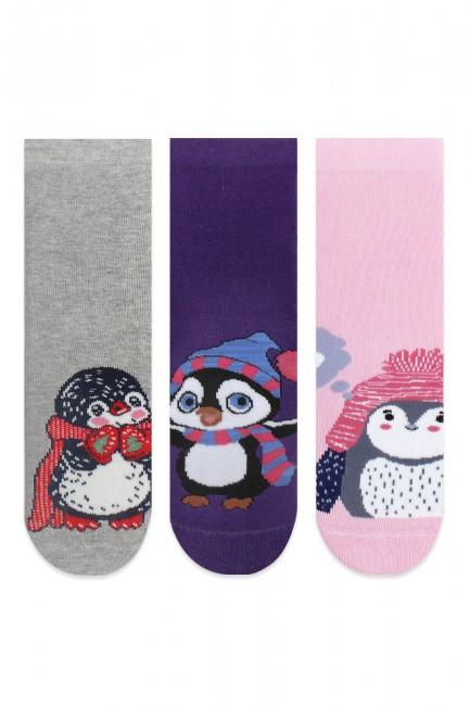 Bross - Bross 3'lü Şapkalı Penguen Desenli Havlu Çocuk Çorabı