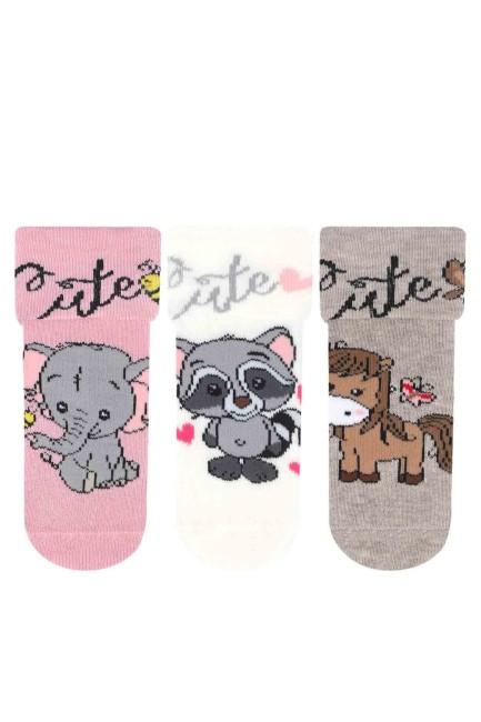 Bross - Bross 3'lü Sevimli Hayvan Desenli Kaydırmaz Baskılı Havlu Bebek Çorabı
