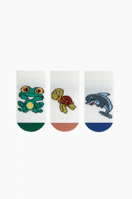 Bross - Bross 3'lü Sevimli Hayvanlar Desenli Patik Bebek Çorabı