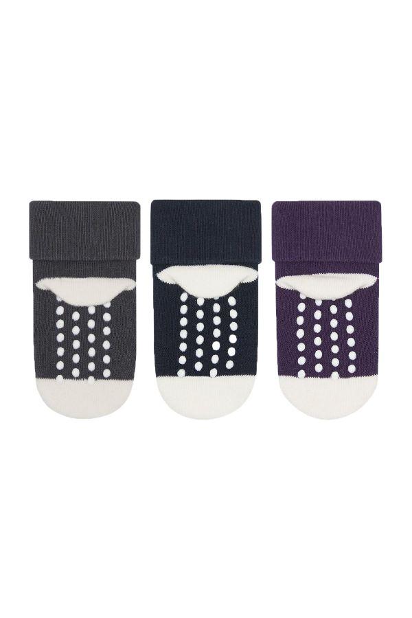 Bross 3'lü Sevimli Kalp Desenli Havlu Bebek Çorabı