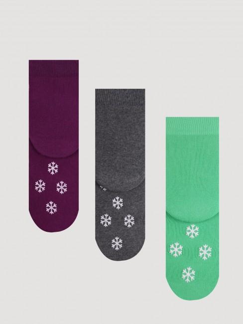 Bross - Bross 3'lü Sevimli Penguen Kaydırmaz Baskılı Havlu Çocuk Çorabı