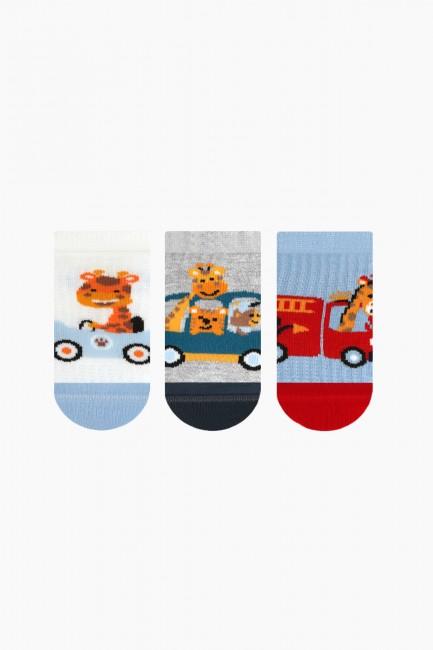Bross - Bross 3-Pack Cute Giraffe Patterned Booties Baby Socks
