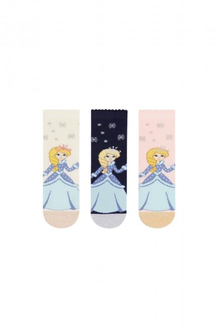 Bross - Bross 3-teilige Silvery Elsa gemusterte Kindersocken