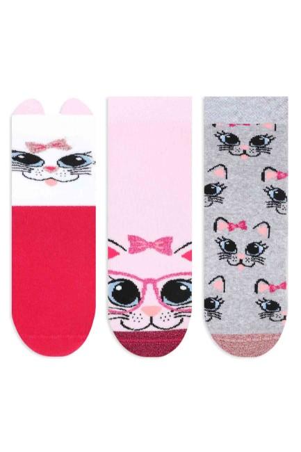 Bross - Bross 3'lü Simli Kedi Desenli Kaydırmaz Baskılı Havlu Çocuk Çorabı
